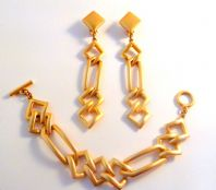 Vintage Chunky Geometric Large Statement Earring And Bracelet Set By Sphinx.